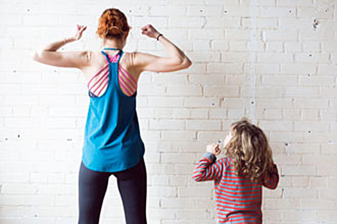 Woman and boy muscle